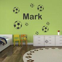 Stenska nalepka Ime z nogometnimi žogami